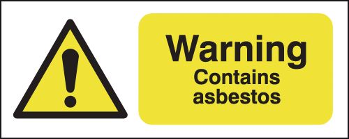 UK warning signs - 100 x 250 mm warning contains asbestos self adhesive vinyl labels.