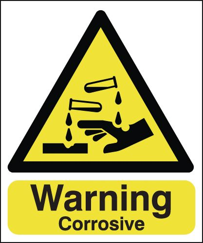 UK warning signs - 150 x 125 mm warning corrosive self adhesive vinyl labels.