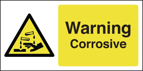 UK warning signs - 100 x 250 mm warning corrosive self adhesive vinyl labels.