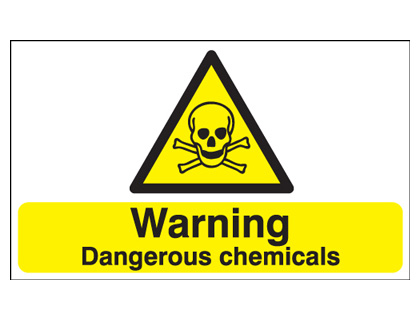 UK warning signs - 100 x 250 mm warning dangerous chemicals self adhesive vinyl labels.