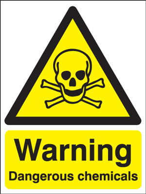 UK warning signs - 400 x 300 mm warning dangerous chemicals self adhesive vinyl labels.