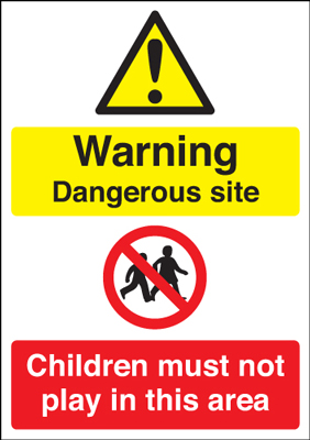 800 x 600 mm warning dangerous site children 3mm polypropene plastic