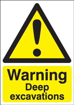 UK warning signs - 400 x 300 mm warning deep excavations self adhesive vinyl labels.