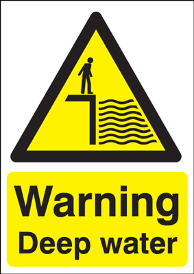 UK water signs - A5 warning deep water 1.2 mm rigid plastic signs.