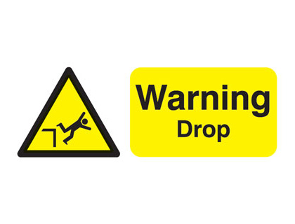 UK warning signs - 100 x 250 mm warning drop self adhesive vinyl labels.