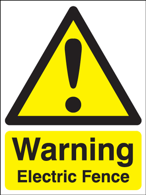 UK warning signs - 400 x 300 mm warning electric fence self adhesive vinyl labels.