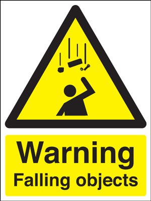 UK warning signs - 400 x 300 mm warning falling objects self adhesive vinyl labels.