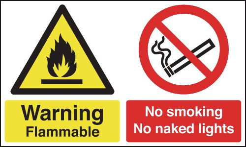 UK smoking signs - 300 x 500 mm warning flammable no smoking no self adhesive vinyl labels.