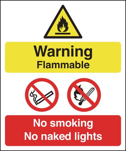 150 x 125 mm warning flammable no smoking no 1.2 mm rigid plastic signs with self adhesive backing.