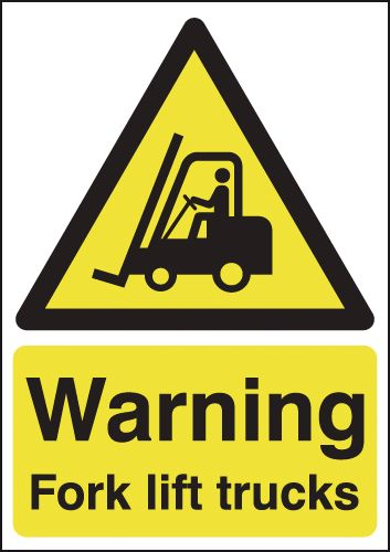 UK fork lift signs - A5 warning fork lift trucks 1.2 mm rigid plastic signs.