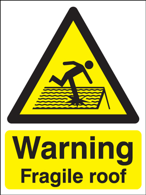 UK warning signs - 400 x 300 mm warning fragile roof self adhesive vinyl labels.