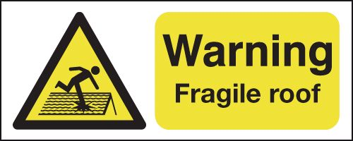 100 x 250 mm Warning Fragile Roof Safety Labels