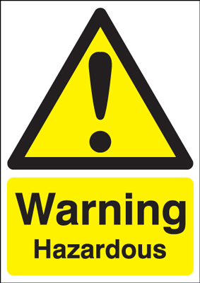UK warning signs - 400 x 300 mm warning hazardous self adhesive vinyl labels.
