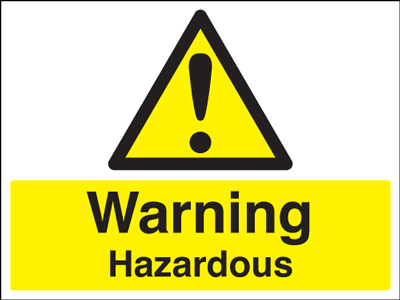 UK warning signs - 150 x 300 mm warning hazardous self adhesive vinyl labels.