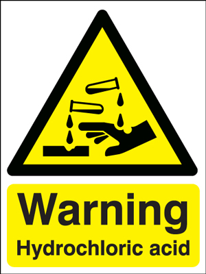 UK warning signs - 400 x 300 mm warning hydrochloric acid self adhesive vinyl labels.