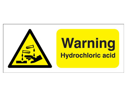 100 x 250 mm warning hydrochloric acid self adhesive label.