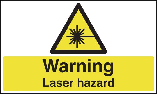 UK warning signs - 50 x 100 mm warning laser hazard self adhesive vinyl labels.