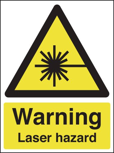 UK warning signs - 400 x 300 mm warning laser hazard self adhesive vinyl labels.