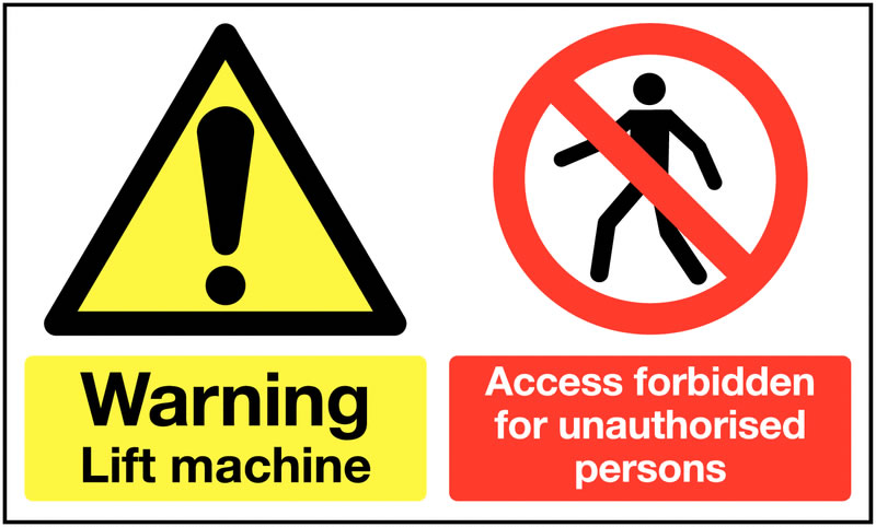 UK warning signs - 300 x 500 mm warning lift machine access self adhesive vinyl labels.