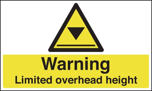 UK warning signs - 300 x 500 mm warning limited overhead height self adhesive vinyl labels.