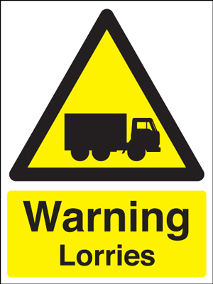 400 x 300 mm warning lorries self adhesive vinyl labels.