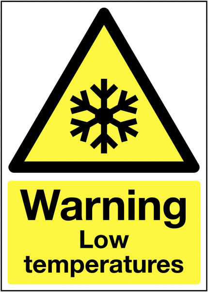 UK warning signs - 150 x 125 mm warning low temperature self adhesive vinyl labels.