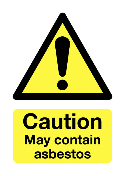 UK hazard signs - 70 x 50 caution May contain asbestos 1.2 mm rigid plastic signs.
