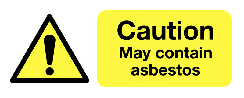 UK hazard signs - 250 x 100 mm caution May contain asbestos self adhesive vinyl labels.