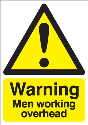 UK warning signs - 400 x 300 mm warning men working overhead self adhesive vinyl labels.