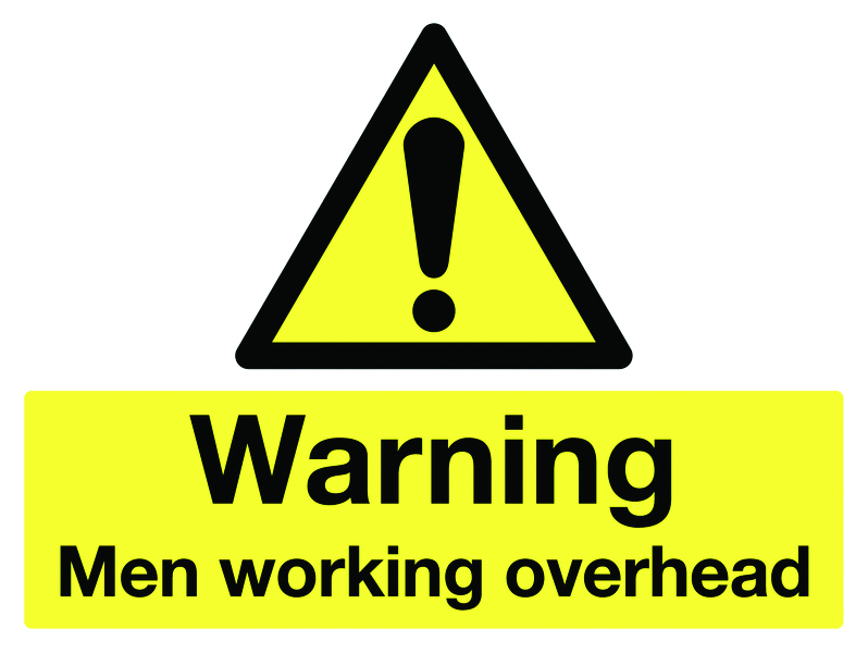 450 x 600 mm warning men working overhead aluminium 0.9 mm