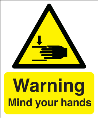UK warning signs - 300 x 250 mm warning mIndustrial your hands self adhesive vinyl labels.