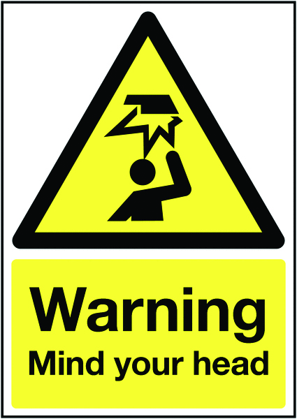 UK warning signs - 400 x 300 mm warning mIndustrial your head self adhesive vinyl labels.