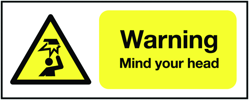 UK warning signs - 100 x 250 mm warning mIndustrial your head self adhesive vinyl labels.