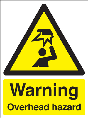 UK warning signs - 400 x 300 mm warning overhead hazard self adhesive vinyl labels.