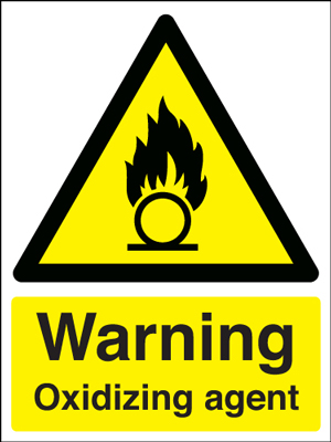 UK warning signs - 400 x 300 mm warning oxidizing agent self adhesive vinyl labels.