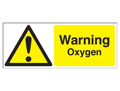 UK warning signs - 100 x 250 mm warning oxygen self adhesive vinyl labels.