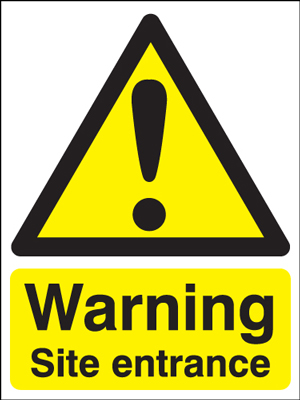 UK warning signs - 400 x 300 mm warning site entrance self adhesive vinyl labels.