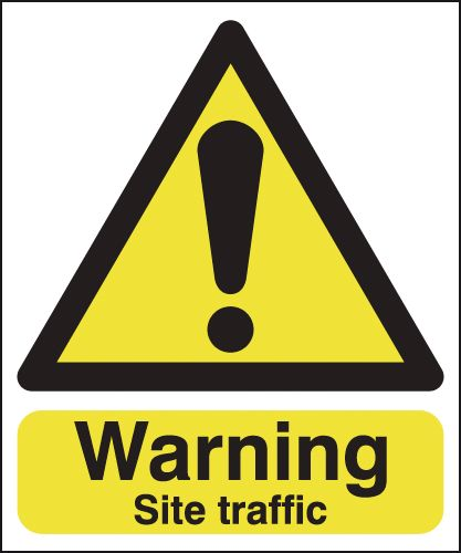 UK warning signs - 400 x 300 mm warning site traffic self adhesive vinyl labels.