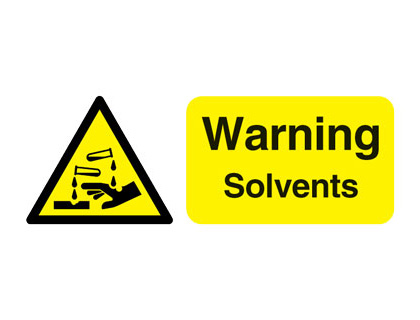 100 x 250 mm warning solvents self adhesive label.