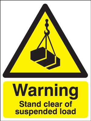 UK warning signs - 400 x 300 mm warning stand clear of suspended self adhesive vinyl labels.