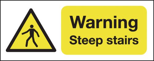 100 x 250 mm Warning Steep Stairs Safety Labels