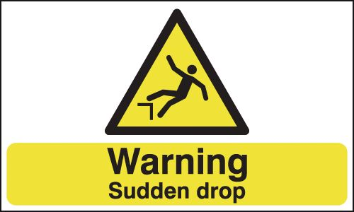 UK warning signs - 150 x 300 mm warning sudden drop self adhesive vinyl labels.