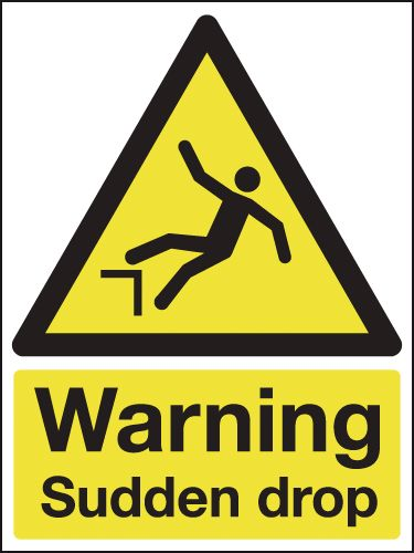 UK warning signs - 400 x 300 mm warning sudden drop self adhesive vinyl labels.