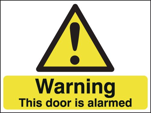 UK warning signs - 150 x 300 mm warning this door is alarmed self adhesive vinyl labels.