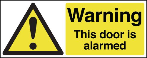 100 x 250 mm Warning This Door Is Alarmed Safety Labels