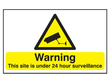 UK warning signs - 100 x 200 mm warning this site is under 24 self adhesive vinyl labels.