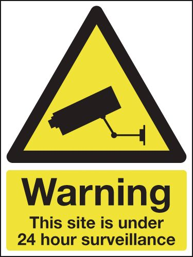 UK warning signs - 800 x 600 mm warning this site is under 24 self adhesive vinyl labels.