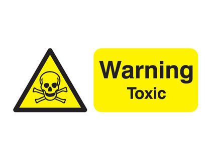 UK warning signs - 100 x 250 mm warning toxic self adhesive vinyl labels.