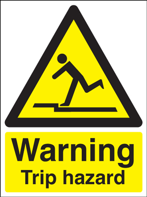 400 x 300 mm warning trip hazard self adhesive vinyl labels.