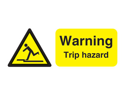 100 x 250 mm warning trip hazard self adhesive vinyl labels.